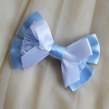 Hair bow - white and blue - pastel goth sweet lolita harajuku romantic victorian pastelgoth princess fashion kawaii costume bow - nekollars