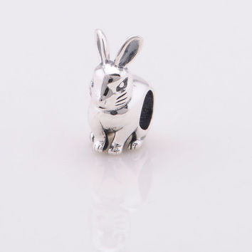 925 Sterling Silver Easter Bunny European Charm Bead