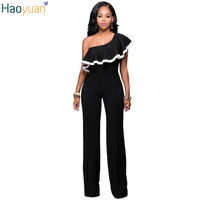 HAOYUAN Fashion Sexy Rompers Womens Elegante Jumpsuit Black Off The Shoulder One Piece Bodysuits Summer Slim Casual Overalls