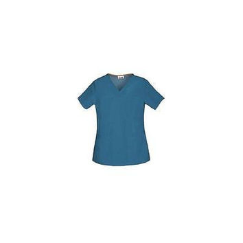 ScrubStar Women's Core Essentials V-Neck Scrub Top, Small. Caribbean Blue, 77943