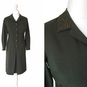 70s Does 40s Shirt Dress - Trevira Wool Dress - 1970's Vintage Dress - Sage Green Dress With Embroidered Collar