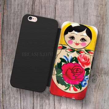 Wallet Leather Case for iPhone 4s 5s 5C SE 6S Plus Case, Samsung S3 S4 S5 S6 S7 Edge Note 3 4 5 Russian doll matryoshka - nested doll Cases
