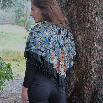 Beaded Black Peacock Scarf