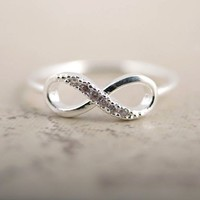 Rhinestone Silver Infinity Ring | The Gadget Flow
