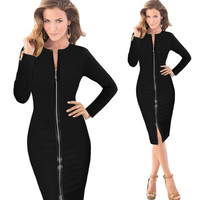 Hot Popular 2017 Trending Fashion Women Slim Long Sleeve Package Hip Zipper One Piece Dress _ 11594