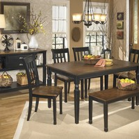 D580-25-02-00 Owingsville Dining Table, 4 Chairs, & 1 Bench