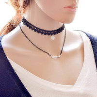 Gothic Vintage Double Layer Lace Choker Bib Neklace for Women Gift -03327