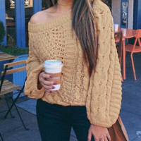 Autumn and winter new wool woven flower tops loose lantern sleeve sweater women