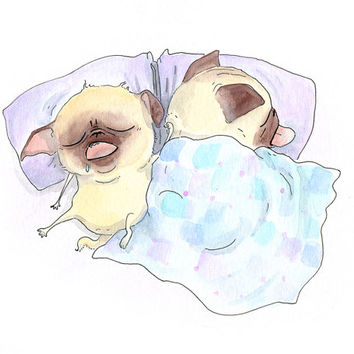 Bed Pugs - True Love Art Pug Print for Bedroom - Sleeping Pugs Ink Drawing & Watercolor Painting - Handmade Art Print from InkPug!