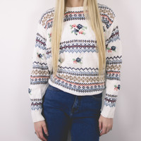 Vintage Floral Dainty Knit Sweater