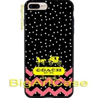 Coach Chevron Pink Logo Black Polkadot Print On Hard Plastic Case iPhone 7, 7+