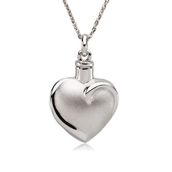 Rhodium Plated Sterling Silver Heart Ash Holder Necklace, 18 Inch