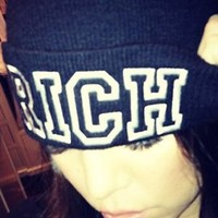 Rich Soil RICH Beanie in Black as Seen On Khloe Kardashian and Kylie Jenner