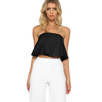 Pink Black White Ruffle Crop Top Beach Off Shoulder Tops For Women Sexy Strapless Tube Top Glossy Women Tops