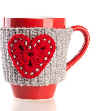 Crochet mug cozy warmer, Mug warmer, crochet heart, cup cozy, hand crocheted, winter accessories, tea cozy. Pick Your Color.