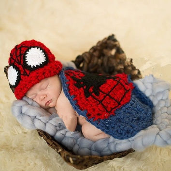 Newborn Baby Batman Infant Knitted Crochet Costume Photo Photography Prop red (Size: 0-3m, Color: Red) = 1927861956