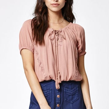 Kendall and Kylie Lace Inset Short Sleeve Peasant Top at PacSun.com