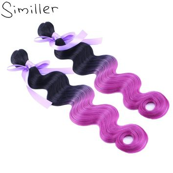 Similler Body Wave Weave Bundles Synthetic Hair Extensions Ombre High Tempureture Fiber 2 Tone(blakc To Purple)