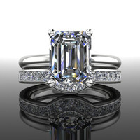 Forever Brilliant Moissanite and Diamond Engagement Ring Emerald Cut 2.98 CTW