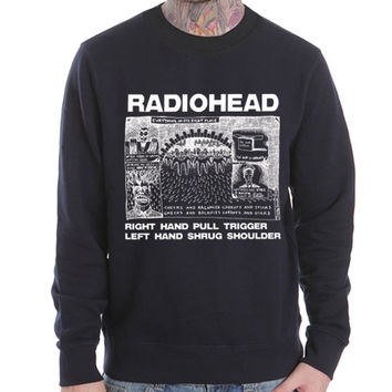 Radiohead-Shrug brit pop UK rock band Black Heavy Blend Crewneck Sweatshirt