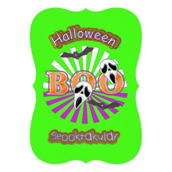 Boo Screaming Ghost Faces Bats Halloween Themed Card