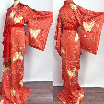 Japanese K80403 Real Shibori Orange Komon Kimono dress Vintage