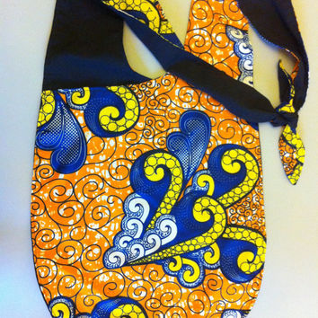 African Wax Print Hip Sling Bag in Orange, Electric Blue, Yellow and White Swirls