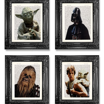 Set Of 4 Star Wars Art Prints-1st First ANNIVERSARY GIFT Man-Boyfriend Gift-Housewarming Gift-Star Wars Print-Husband Gift-Mens Gift