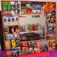 Led Zeppelin decoupage wall mirror , rock and roll decor