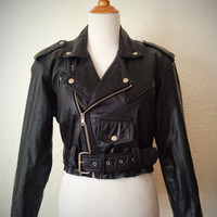 Vintage 80's Leather Jacket Black Cropped with Zipper Detailing