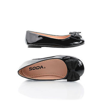 JessieIIS Black Patent by Happy Soda, Black Patent Children / Girls Bow Ballet Slip On Flats