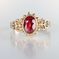 Victorian 10K Gold Garnet Ring antique jewelry size 8.75