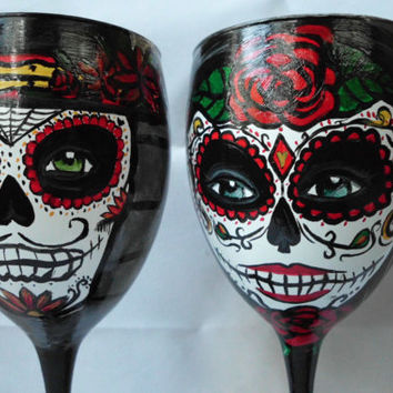 Day of the Dead hand painted Wine Glasses by artsyleenies on Etsy