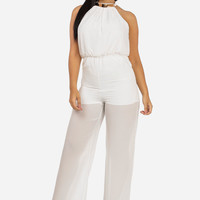 Dressy Wide Legged Chiffon Jumpsuit (White)