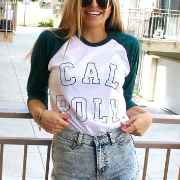 Official NCAA California Polytechnic State University Cal Poly SLO Musty Mustang Standard Raglan