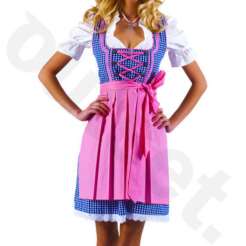Dirndl Dress Blue-Pink, Ethnic 3 Piece Oktoberfest Bavarian Trachten. Austrian, German Folk Outfit - Festival Costume, Apron and Blouse