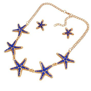 Streetstyle  Casual Starfish Rhinestone Necklace And Earring