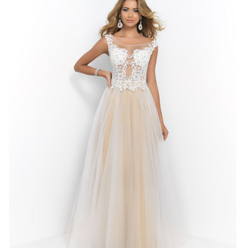 Pink by Blush 5414 Ivory & Champagne Embroidered Sleeveless Tulle Dress Prom 2015
