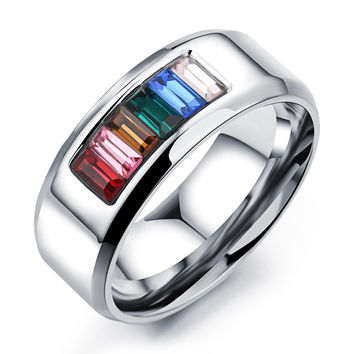 Six colors rainbow ornament titanium steel ring-Size 11