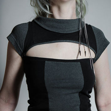COMFY APOCALYPSE Top - Custom Handmade to Order - Futuristic, Avant Garde, Casually High Fashion - OOAK one of a kind , Recycled / Upcycled