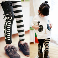 Wisstt Sweet Girls Classical Zebra Bow Skinny Pants Casual Kids Black And White Stripes Trousers Children Leggings Ages3-8Y