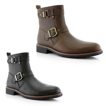 New Men's Modern Motorcycle Riding Tall Zipped Boots