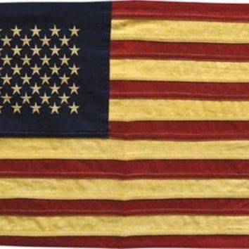 "Tea Stained Natural Cloth American Flag - Large  32"" x 58"" 50 Stars"