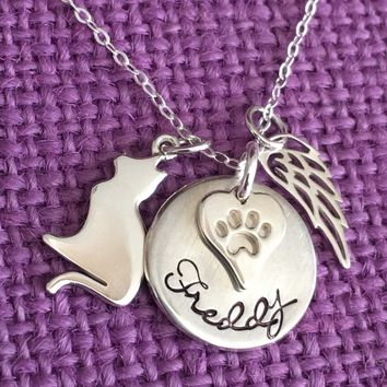 Pet Memorial Necklace - Cat - Pet Memorial Jewelry -Cat Memorial Necklace- Pet Remembrance Jewelry- Pet Memorial Jewelry