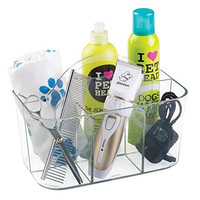 mDesign Dog Grooming Storage Caddy for Shampoo, Scissors, Pet Supplies - Clear
