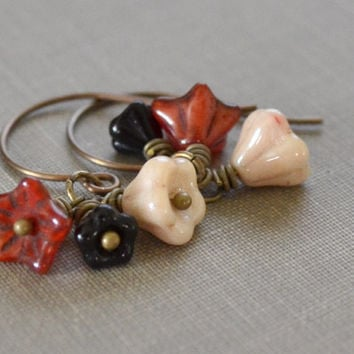 Autumn Garden Earrings, Floral Glass, Red, Cream, Black Earrings, French Hook, Antique Brass Earrings, Fall Bride, Boho Beach Style
