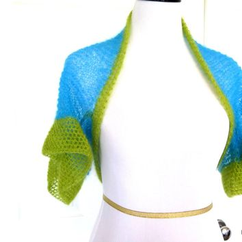 Bright Blue and Green Hand Knit Silk Mohair Shrug, Modern Bridal Bolero Shrug
