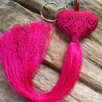 Embroidered Pink Heart Long Tassel Bell Keyring Bag Charm Tribe Hippie Ibiza | eBay