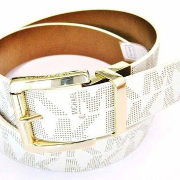 ONETOW Michael Kors Women's Reversible MK Logo Leather Belt, Vanilla