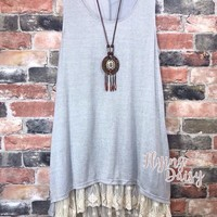 Plus Size Grey Lace Extender Tunic Dress